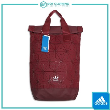 ADIDAS 3D Roll Top Backpack 類三宅一生 鑽石 酒紅 菱格 限量 後背包 雙肩包 DH0101